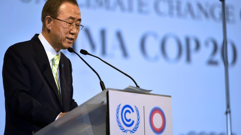UN-Generalsekretär Ban Ki-moon spricht auf der Klimakonferenz in Lima.