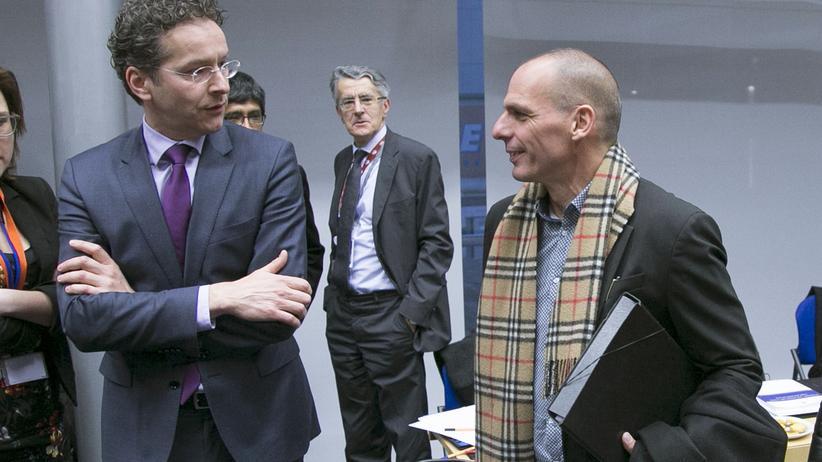 Griechenland: Der griechische Finanzminister Yanis Varoufakis (rechts) neben dem Chef der Eurogruppe Jeroen Dijsselbloem in Brüssel