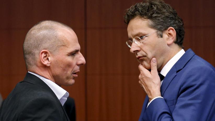 Griechenland-Krise: Der griechische Finanzminister Yanis Varoufakis mit Eurogruppenchef Jeroen Dijsselbloem