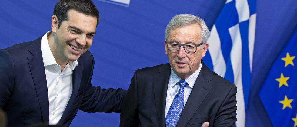 Der griechische Regierungschef Alexis Tsipras und EU-Kommissionspräsident Jean-Claude Juncker
