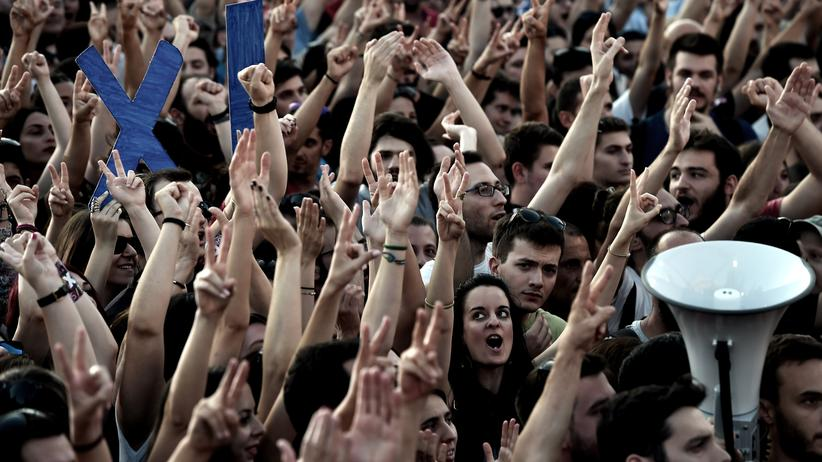 """Griechische Demonstranten auf einer """"Nein""""-Kundgebung in Athen"""