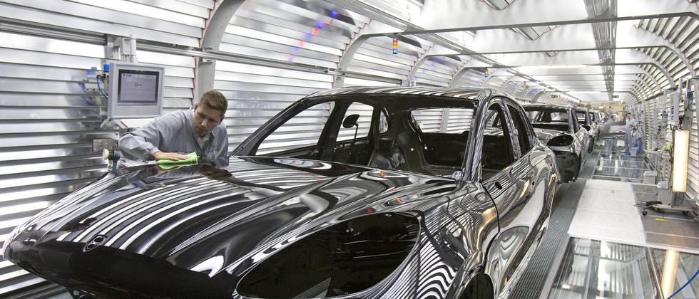 Die Produktionshallen von Porsche in Leipzig