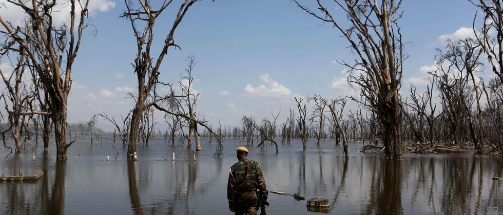 Ein Ranger blickt auf eine Überflutung im Lake Nakuru National Park in Kenia.