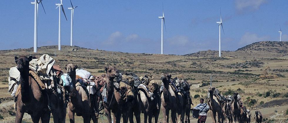 Eine Windkraftanlage im Norden von Äthiopien