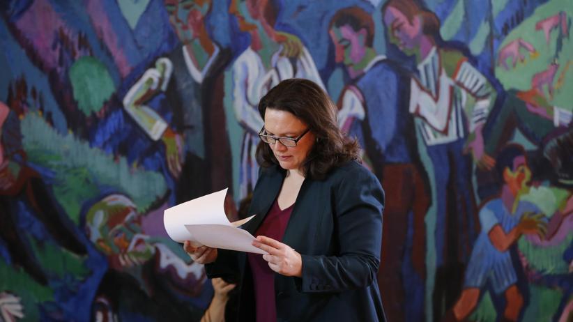 Andrea Nahles: Arbeitsministerin Andrea Nahles will mehr Beschäftigungsmöglichkeiten für Flüchtlinge.