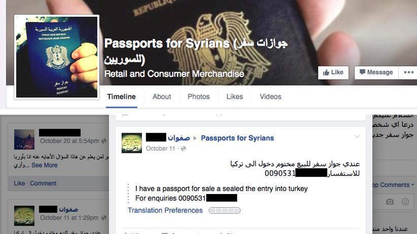 Ein Screenshot der Facebook-Seite des Anbieters von gefälschten Pässen
