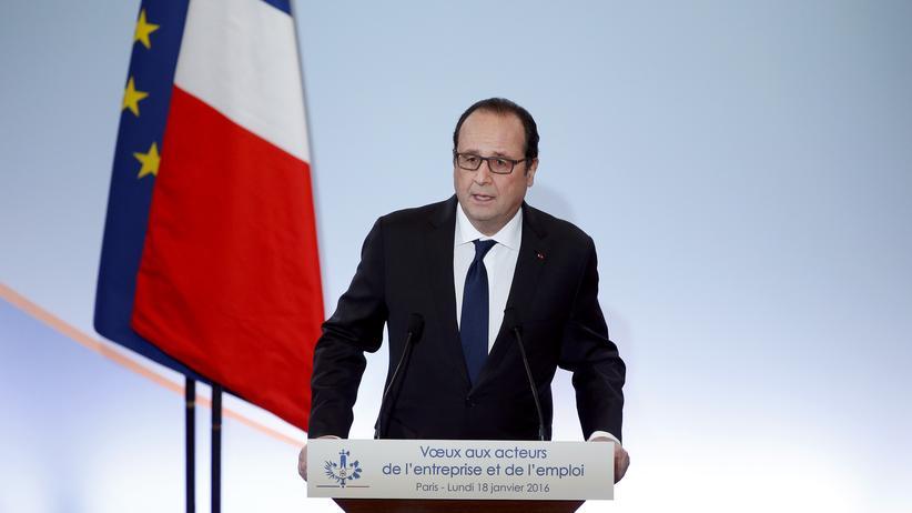 François Hollande während seiner Rede vor Wirtschaftsvertretern in Paris