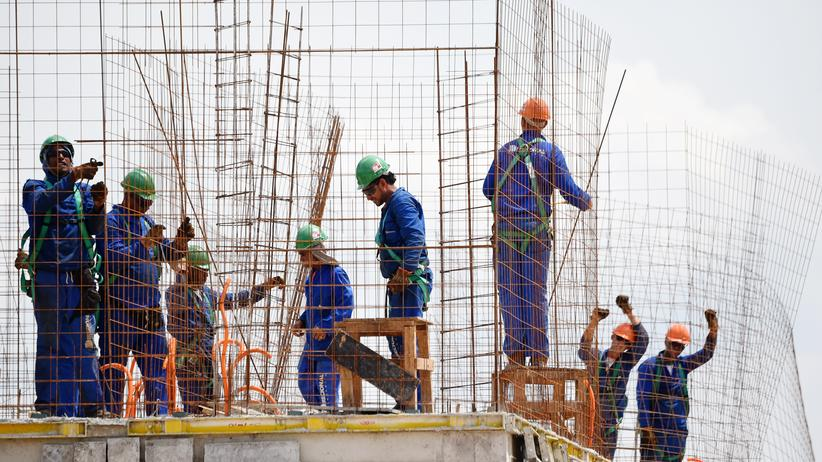 Bauarbeiter in Rio de Janeiro, Brasilien