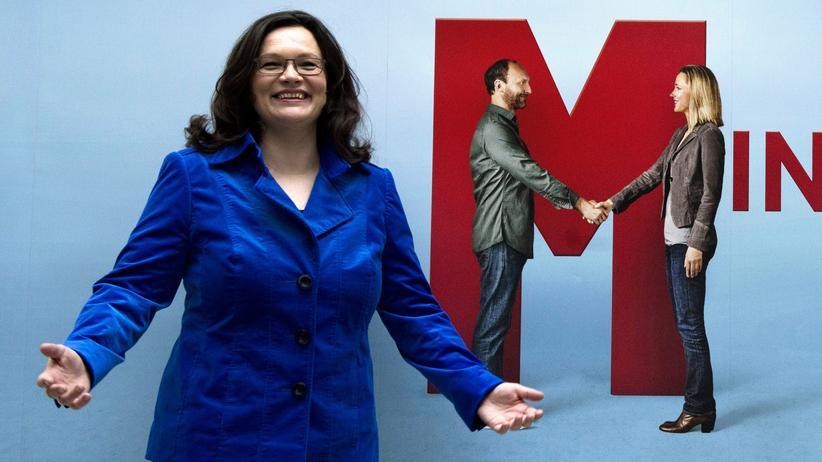 Arbeitsmarkt: Arbeitsministerin Andrea Nahles (SPD) macht Werbung für den Mindestlohn.