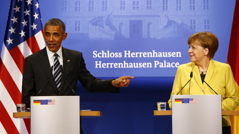 Barack Obama und Angela Merkel im Schloss Herrenhausen