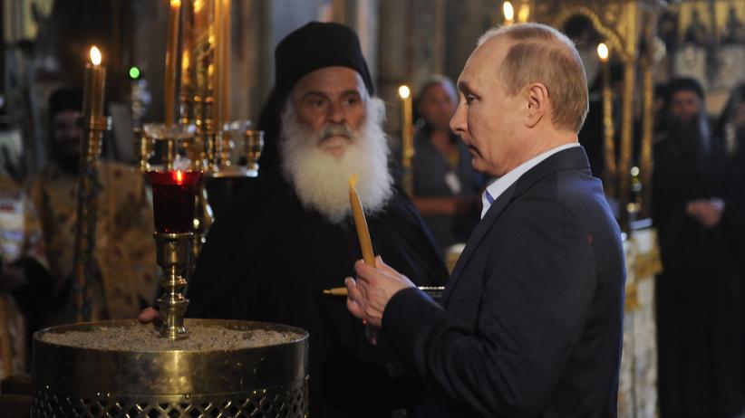 Griechenland-Besuch: Wladimir Putin während einer Messe auf Athos