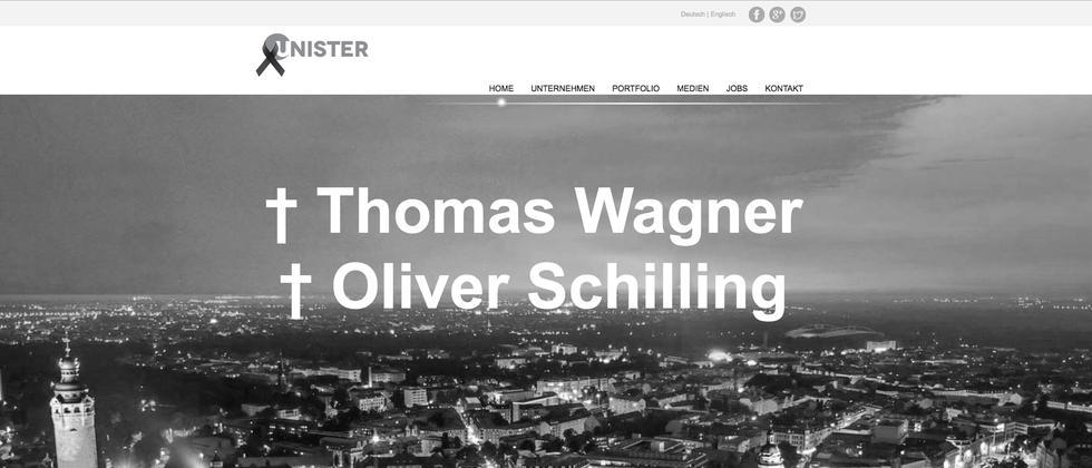 Ein Screenshot der Unister-Homepage nach dem Flugzeugabsturz in Slowenien