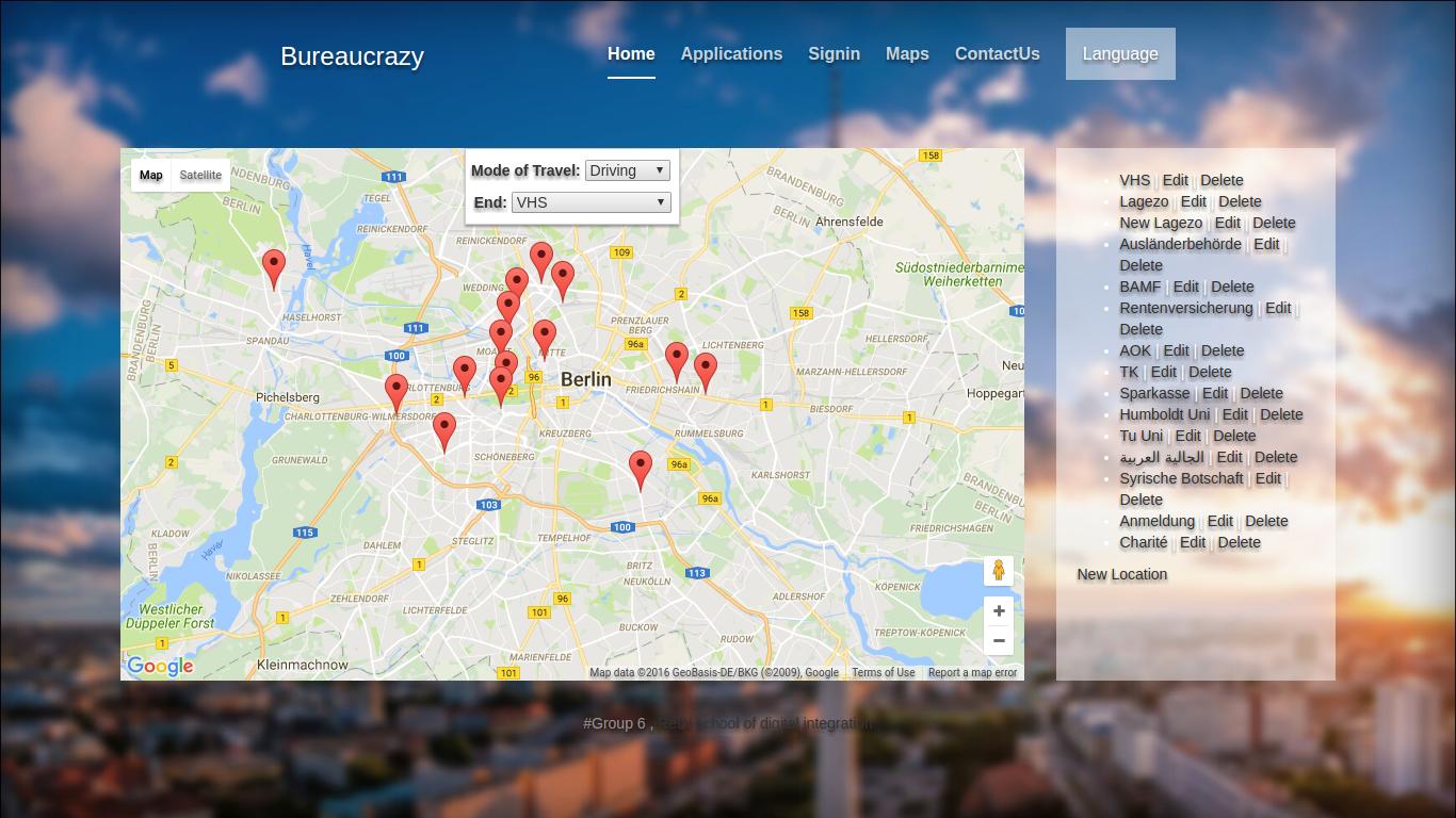 Bureaucrazy: Die Desktop-Version von Bureaucrazy zeigt die wichtigsten Anlaufstellen für Flüchtlinge.