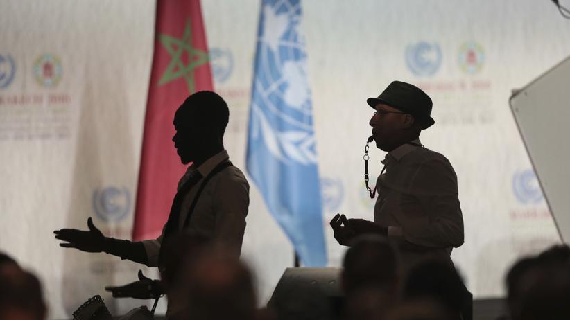 Stimmen zum Wahlsieg: Da war die Stimmung noch gut: Eine Band spielt während der Eröffnungszeremonie der Klimakonferenz in Marrakesch.