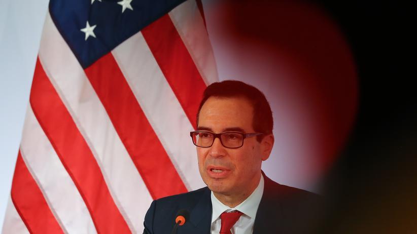 G20-Gipfel: US-Finanzminister auf einer Pressekonferenz am Rande des G20-Gipfels in Baden-Baden