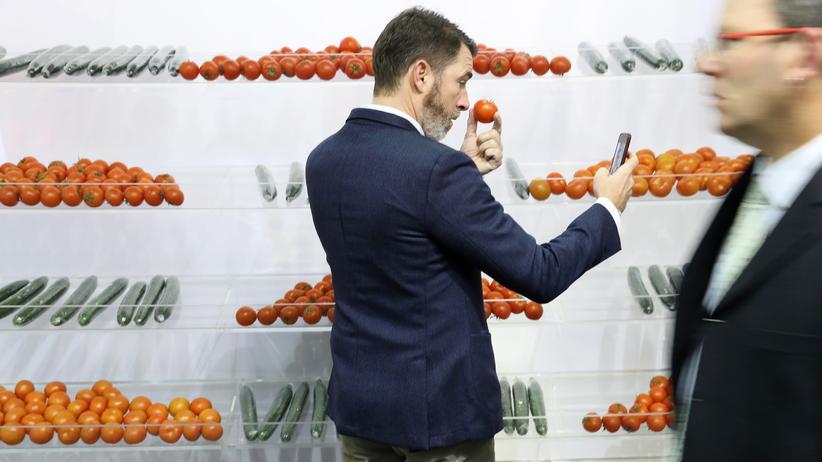 Importe: Ein Besucher einer Agrarmesse in Berlin macht ein Selfie mit einer Tomate aus Spanien.