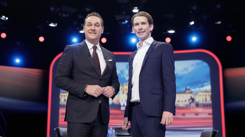 Österreich-Wahlkampf: FPÖ-Chef Heinz-Christian Strache (l.) und der Vorsitzende der ÖVP Sebastian Kurz am Dienstag in Wien