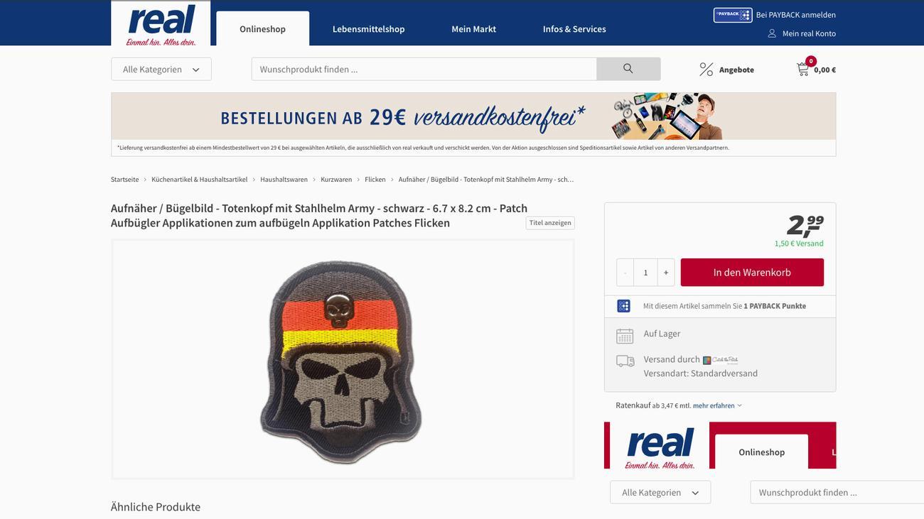 Real supermarkt bedauert verkauf von for Verkauf von mobeln im internet