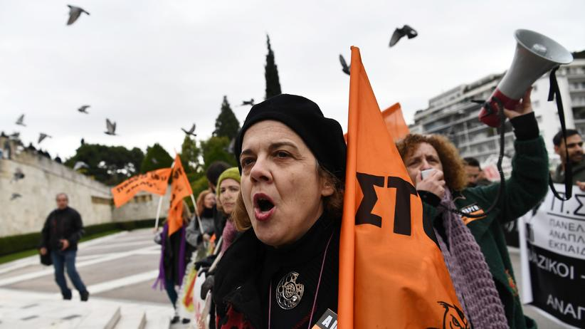 Griechenland: Demonstranten vor dem griechischen Parlament in Athen