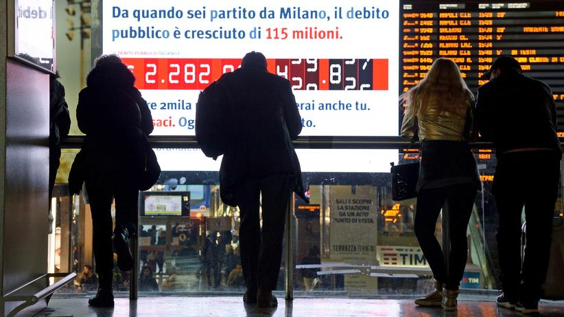 Haushaltsdefizit: Italiens Schuldenuhr in Mailand