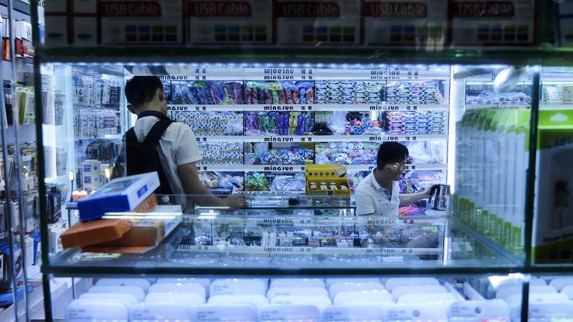 Onlinehandel: Ein Elektronikmarkt in Shenzhen in China