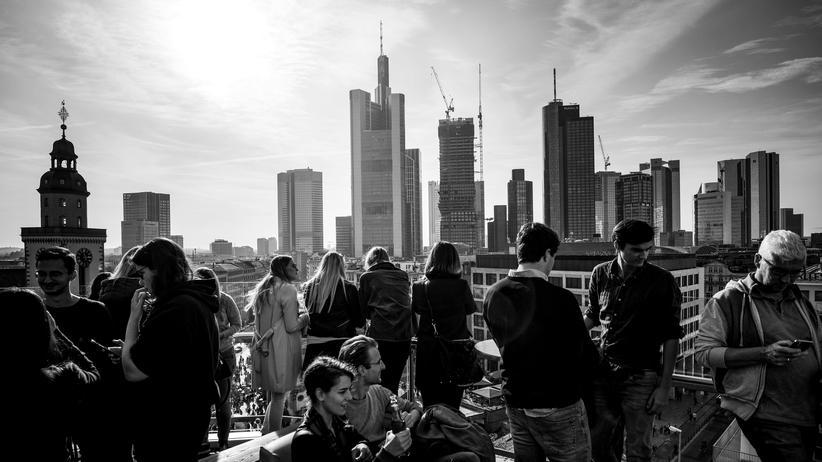 Brexit: Auf der Dachterasse eines Einkaufszentrums in Frankfurt