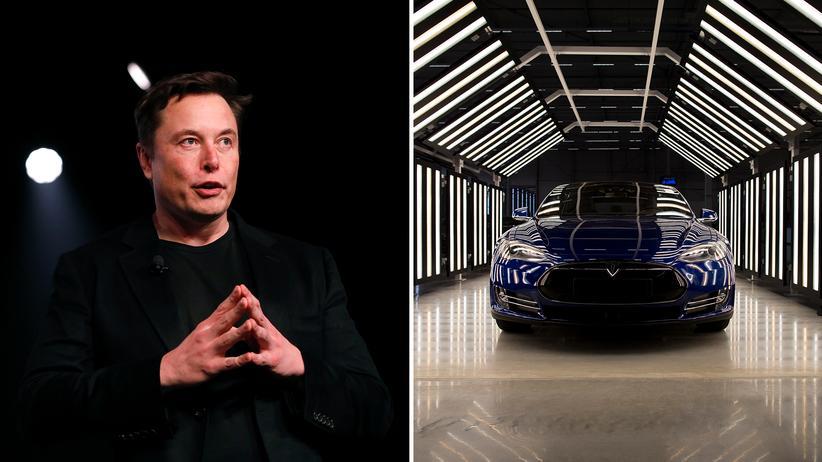 Tesla: Elon Musk und ein Tesla (Modell S): In puncto Technologie hat der US-Autohersteller die Nase vorn. Noch.