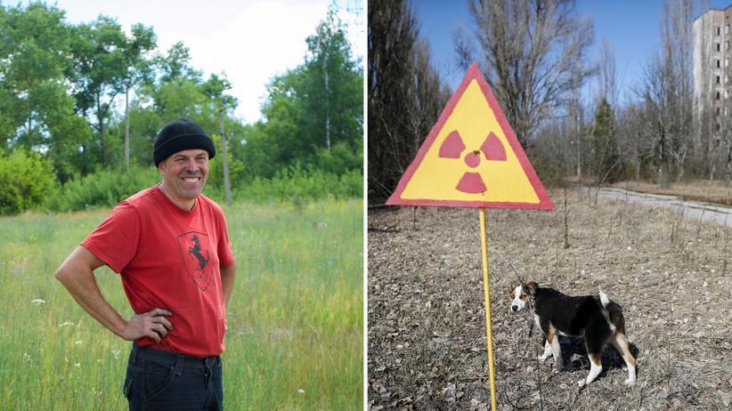 Ostukraine: Vadym Minzyuk wagt den Neustart an der Grenze zum Sperrgebiet rund um Tschernobyl (rechts: ein Warnschild in der Nähe der verlassenen Stadt Pripyat)