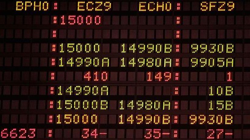 Der Eurokurs, gezeigt in Chicago am vergangenen Donnerstag.