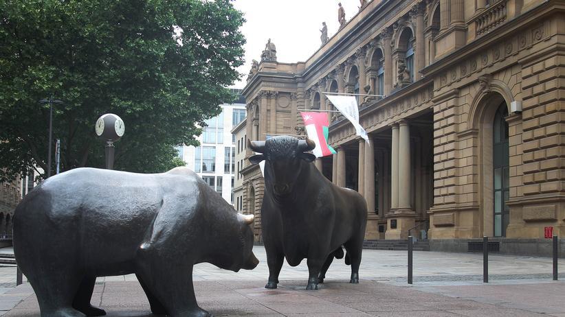 Bulle und Bär vor der Börse in Frankfurt am Main