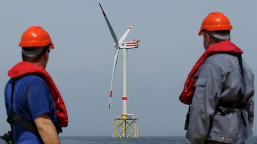 Ökostrom: Zwei Arbeiter blicken auf den Offshore-Windpark Alpha Ventus in der Nordsee