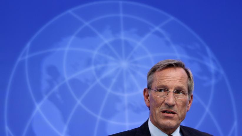 Allianz-Vorstandschef Michael Diekmann auf einer Jahrespressekonferenz seines Konzerns (Archivbild)