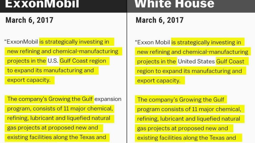 Ölkonzern: Trump macht ExxonMobil-Pressemeldung zum Regierungsstatement