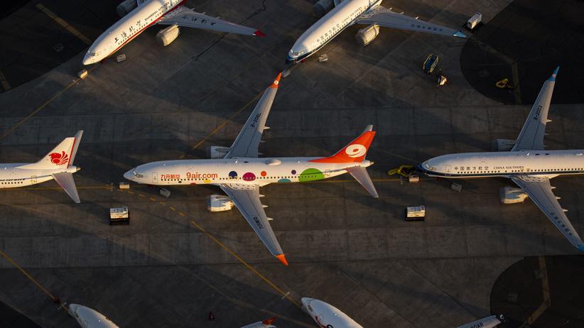 Luftfahrt: Flugzeuge des Modells Boeing 737 Max, geparkt am Flughafen in Moses Lake, Washington