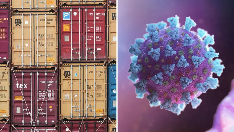 Coronavirus: Links: Container am Hafen von Le Havre in Frankreich. Rechts: Computernanimation des Coronavirus