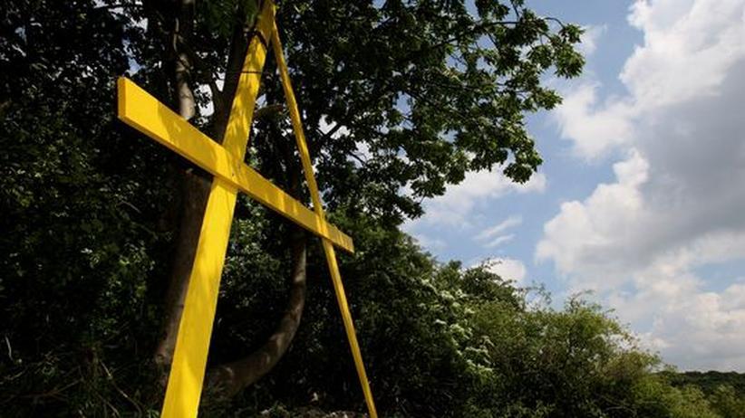 Ein gelbes A als Protestzeichen gegen das Endlager Asse