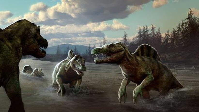 Ein Modell vom Kopf des Spinosaurus