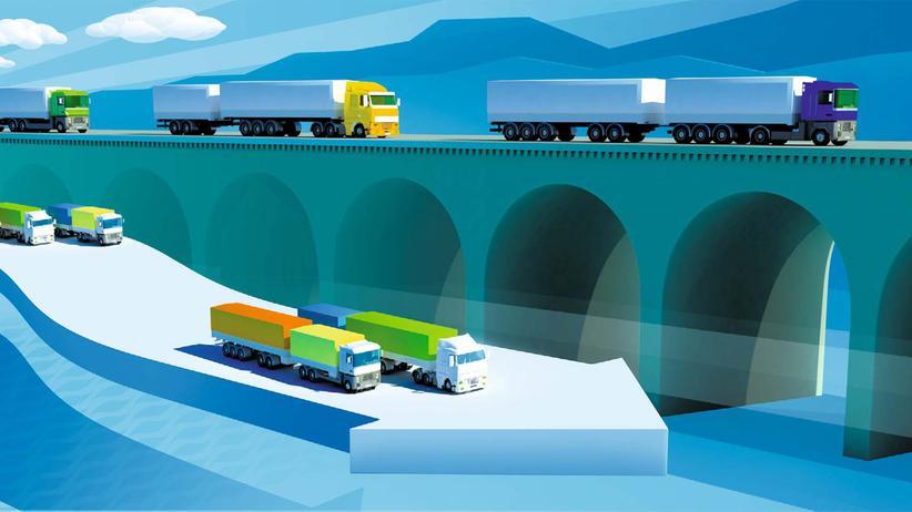 Transport-Infografik: Die Giga-Brummis der Zukunft