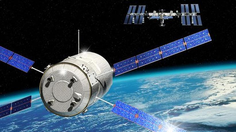 """Der Raumtransporter nähert sich der internationalen Raumstation """"ISS"""". Die Animation zeigt, wie es im Orbit laufen soll"""