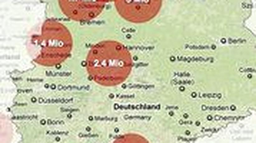 Wie viele Menschen in Deutschland leben im direkten Umkreis von Atomkraftwerken? Bitte klicken Sie auf das Bild, um zur interaktiven Grafik zu gelangen