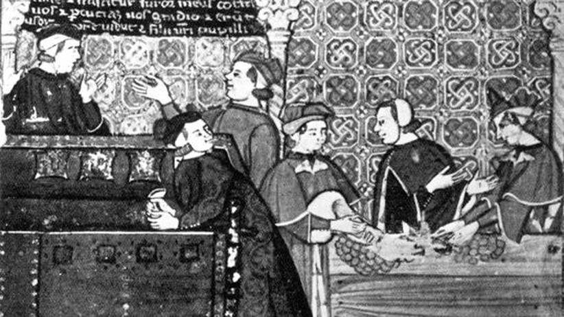 Wirtschaftskrise: Zinsen verbot die Kirche. Aber die Regenten von Florenz wussten sich zu helfen. Blick in ein Bankhaus, wie ein italienischer Buchmaler des 14. Jahrhunderts es sah
