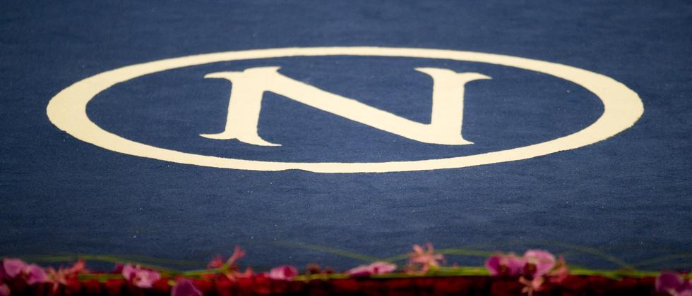 """Der Buchstabe """"N"""" für den Namen Nobel ist in einen Teppich am Boden der Stockholmer Konzerthalle eingeflochten (Archivfoto)."""