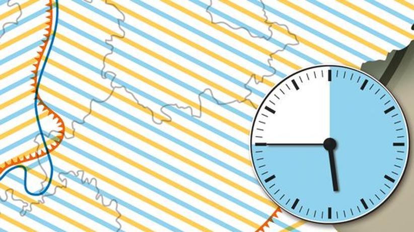 Deutschlandkarte: Uhrzeit-Angaben