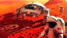 Eines Tages werden vielleicht Menschen auf dem Mars herumlaufen – wie in dieser Illustration.