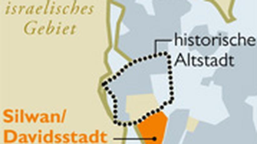 Die Davidsstadt liegt südlich von der Altstadt von Jerusalem.
