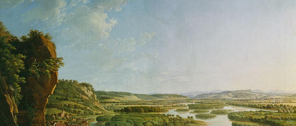 """Peter Birmanns """"Blick vom Isteiner Kloster rheinaufwärts gegen Basel"""""""
