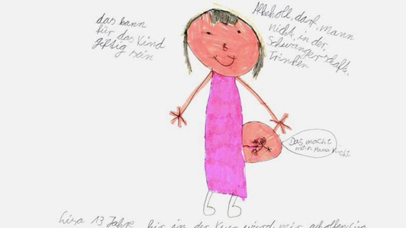 """Alkohol: Dieses Bild hat Lisa aus Thüringen in der Rehaklinik gemalt. Wie das Gemälde einer gesunden 12-Jährigen wirkt es nicht. Warum? """"Alkholl darf mann nicht in der Schwangerschaft Trinken"""""""