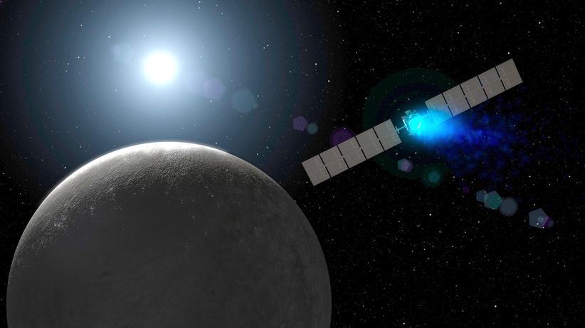 NASA-Raumsonde Dawn im Anflug auf den Zwergplaneten Ceres (künstlerische Darstellung)