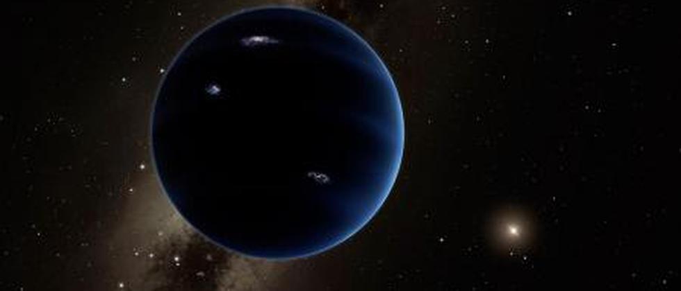 Die künstlerische Darstellung zeigt Planet 9 aus der Entfernung mit Blick auf die Sonne.