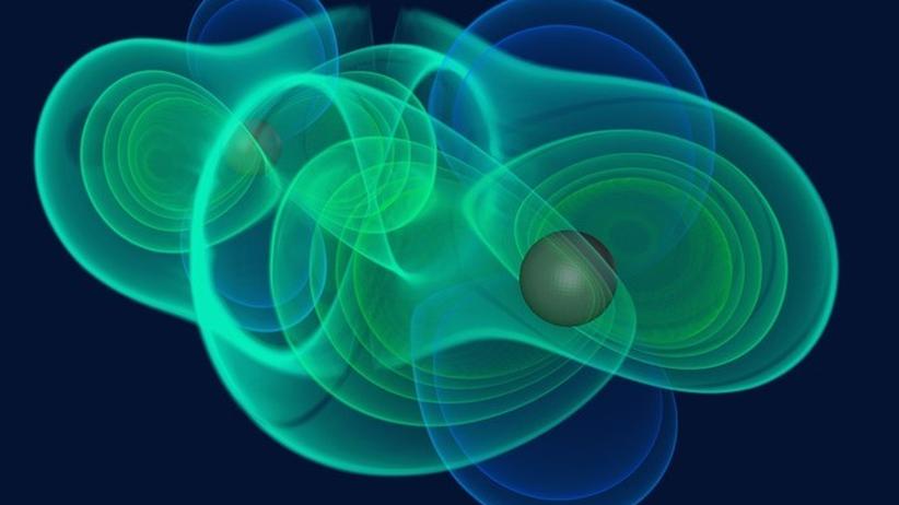 Albert Einstein: Simulation einer kosmischen Kollision: Tanzen Schwarze Löcher umeinander und stoßen zusammen, werden Gravitationswellen frei.